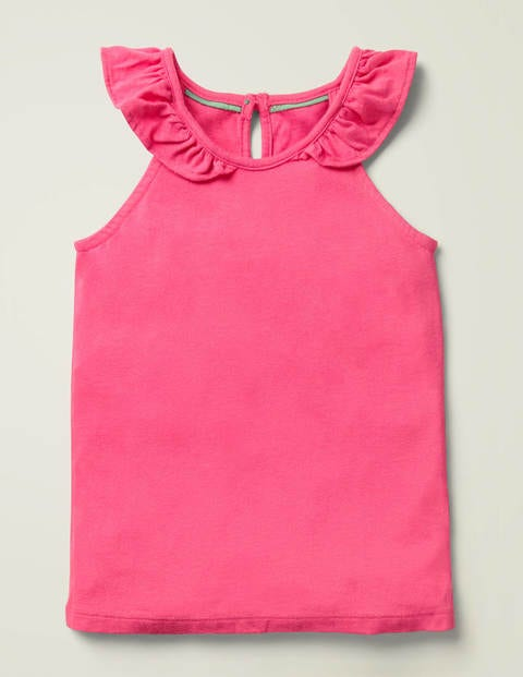 Frill Sleeve Vest - Bright Camellia Pink