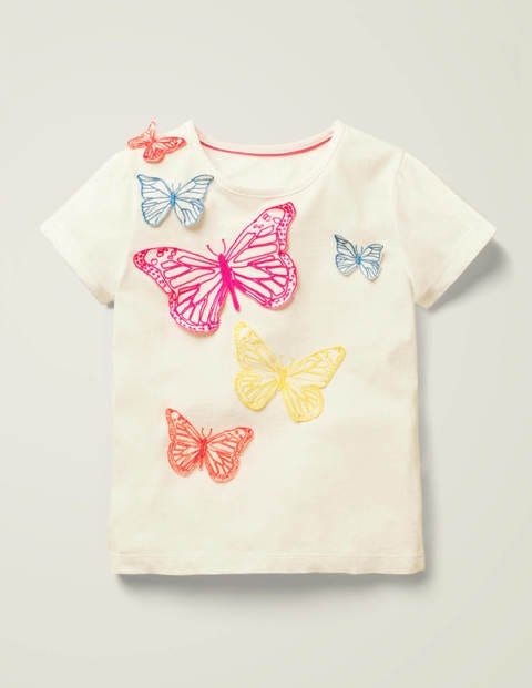 Butterfly Appliqué T-shirt - White Butterflies