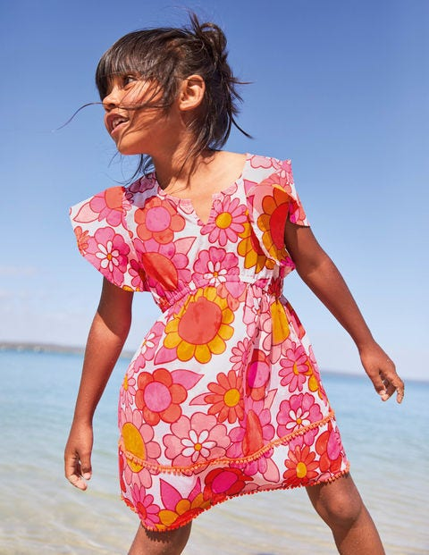 Fun Printed Kaftan - Bright Camelia Sixties Floral