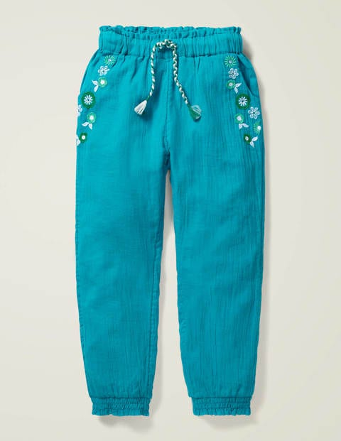 Detailed Vacation Pants - Deep Marine Green