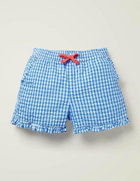 Shorts Mit Gerüschtem Saum - Kräftiges Blau, Vichykaros
