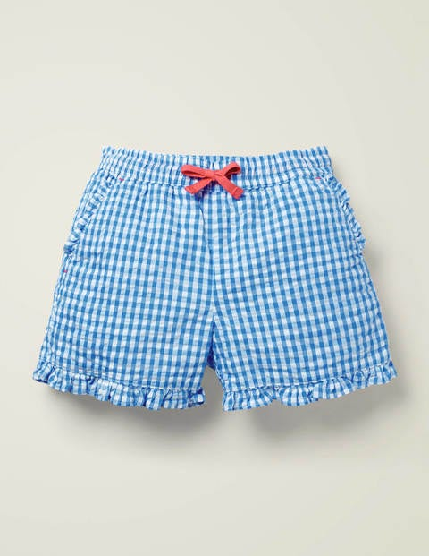 Frill Hem Shorts - Bold Blue Gingham