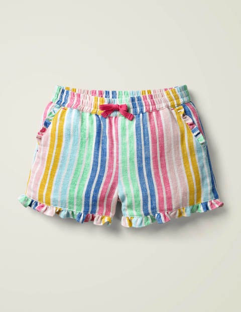 Frill Hem Shorts - Multi Stripe