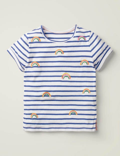 Stripy Embroidered T-Shirt - White/Bold Blue Rainbows