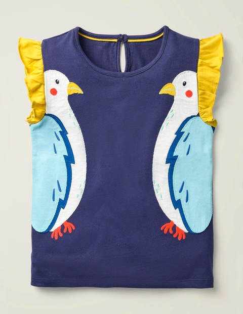 Flutter Appliqué T-shirt - Indigo Navy Birds