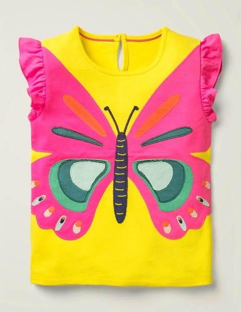 Flutter Appliqué T-shirt - Lemon Zest Yellow Butterfly