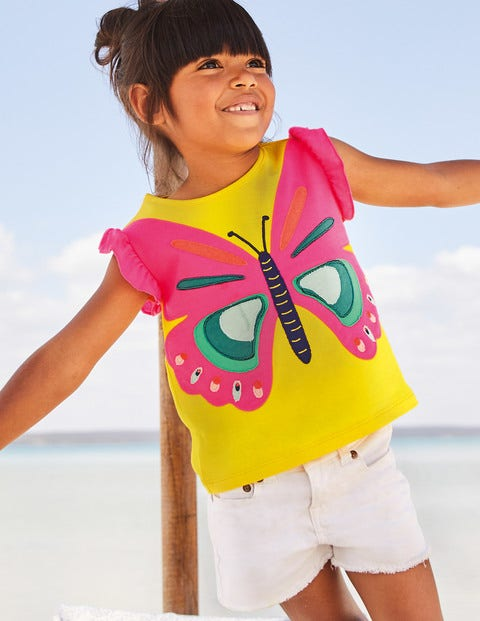 Flutter Appliqué T-Shirt - Lemon Zest Yellow Butterfly