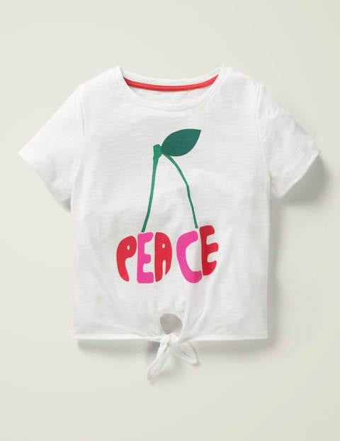 Tie-Front Retro T-Shirt - White Peace Cherries