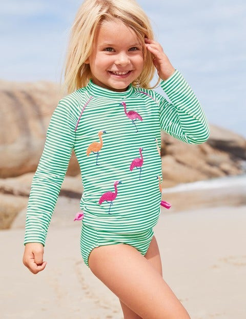 Sparkle Surf Set - Shamrock Green/Ivory Flamingos