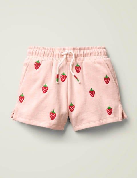 Bestickte Jersey-Shorts - Delfinrosa, Erdbeeren