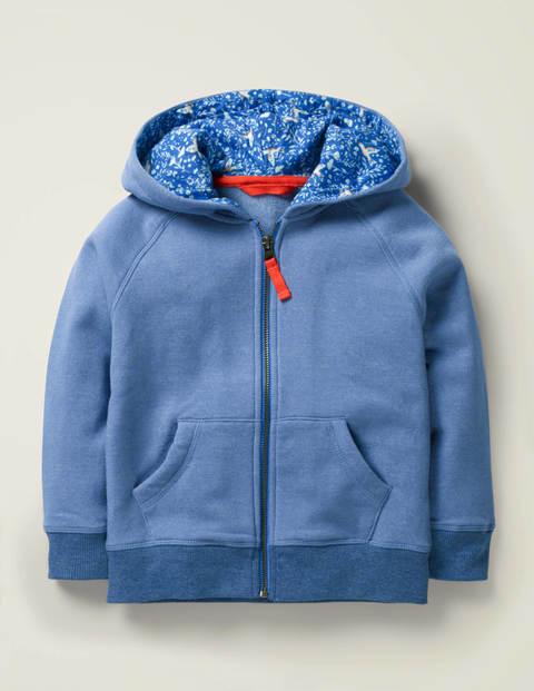 Print Lined Hoodie - Seascape Blue Marl