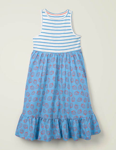 Hotchpotch Jersey Dress - Blue Strawberry Doodle