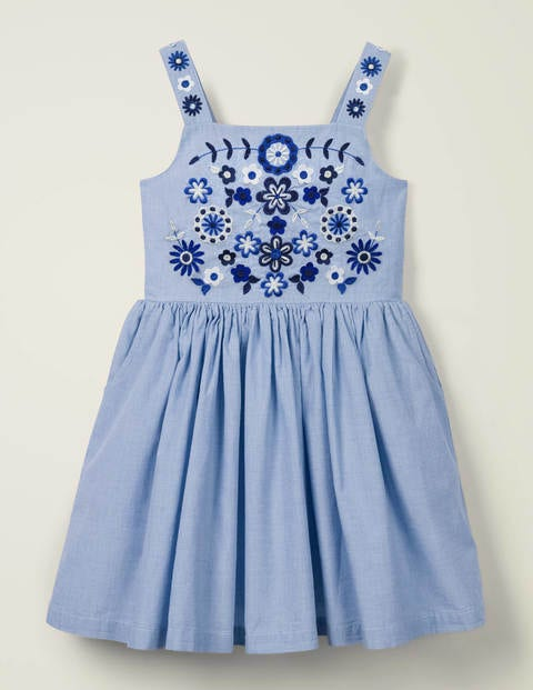 Embroidered Sun Dress - Chambray