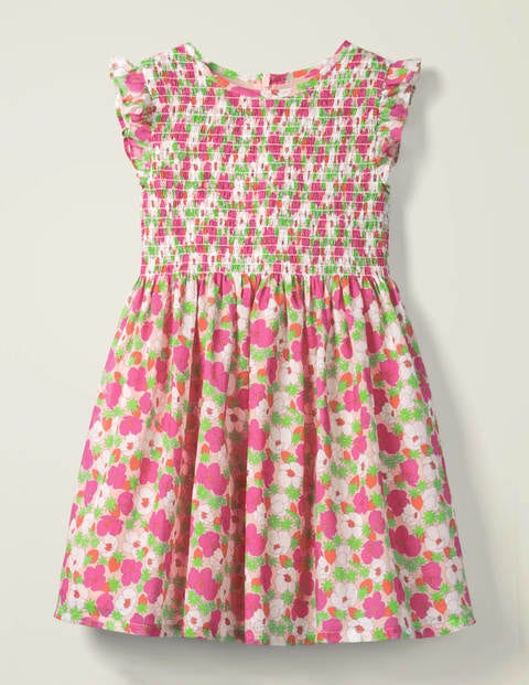 Smocked Woven Dress - Boto Pink Berry Bloom