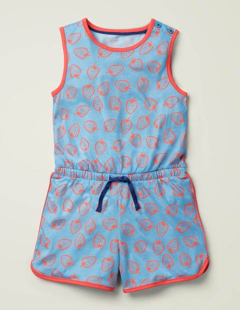 Tie-Waist Jersey Playsuit - Surf Blue Strawberry Doodle