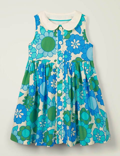 Woven Collared Dress - White and Corsica Blue Floral