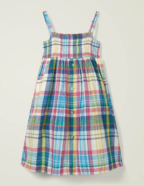Button Through Dress - Alpine Blue Check