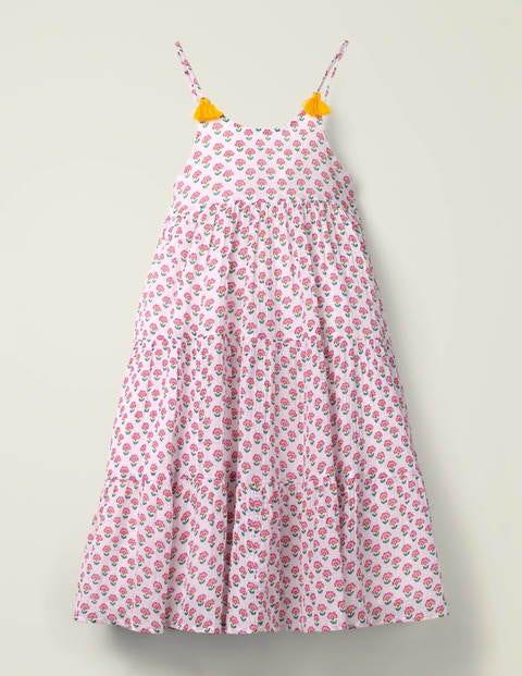 Tiered Tassel Dress - Pop Pansy Woodblock