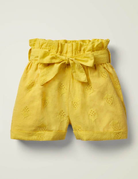 Textured Tie-Waist Shorts - Daffodil Yellow