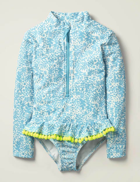 Ruffle Long Sleeved Swimsuit - Cloudy Blue Shadow Bloom