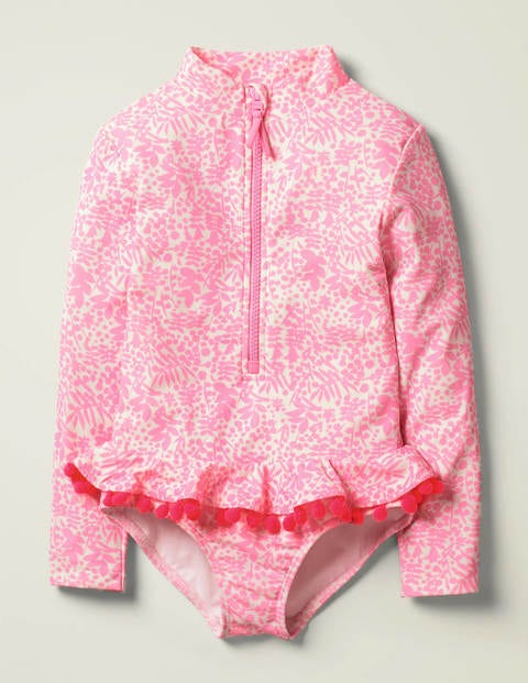 Ruffle Long Sleeved Swimsuit - Ivory/Pink Bloom Shadow Bloom