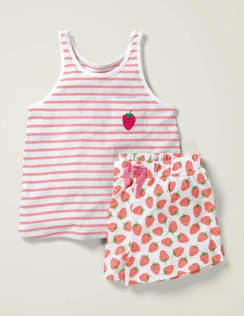 Pyjamaset mit lustiger Tasche - Weiß/Rosa, Erdbeeren