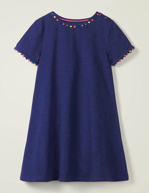 Charlie Pom Jersey Dress - Violet Blue Navy