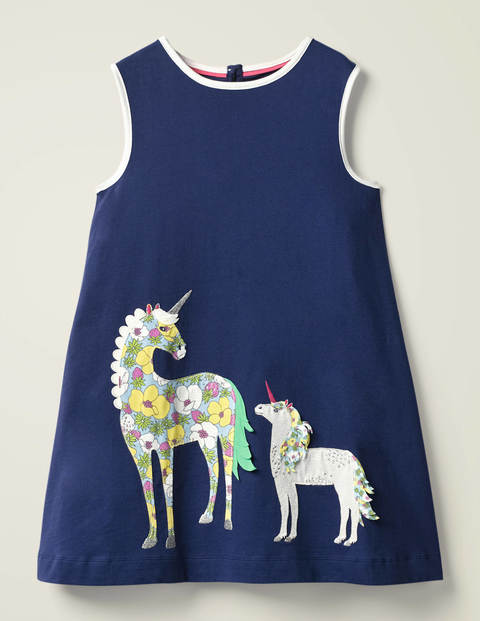 Retro Appliqué Jersey Dress