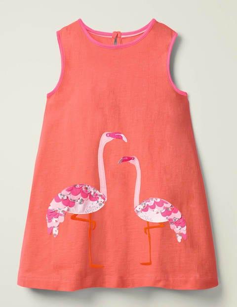 Retro Appliqué Jersey Dress - Peach Melba Coral