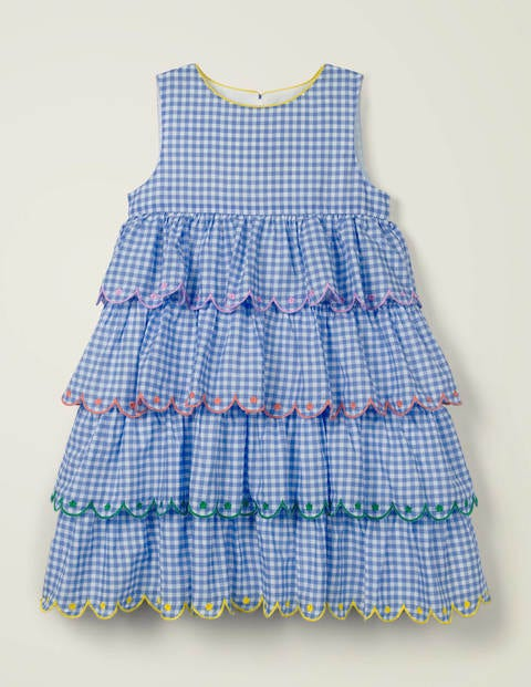 Tiered Embroidered Dress - Seascape Blue Gingham