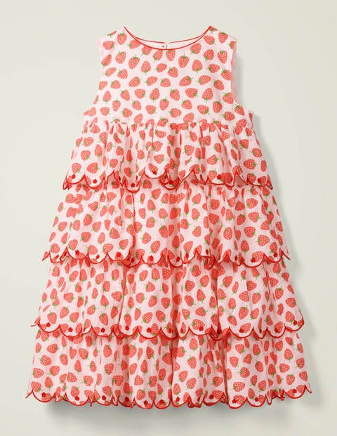 Tiered Embroidered Dress - White Peach Melba Strawberries