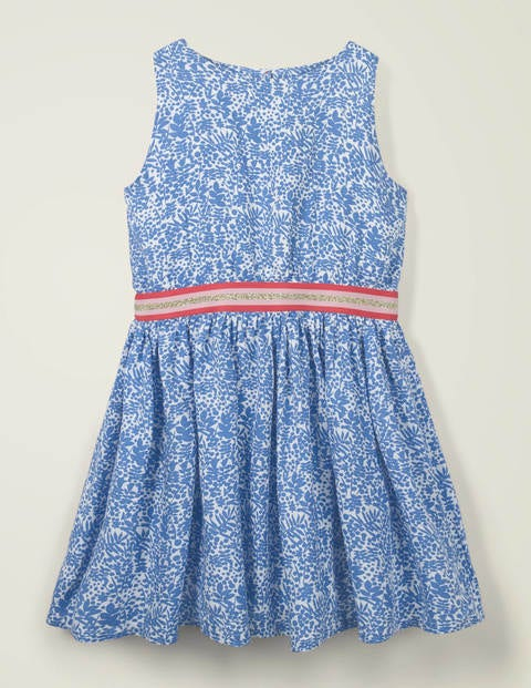 Waistband Woven Dress - Ivory/ Blue Shadow Bloom