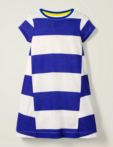 Stripe Jersey Dress - White/Bright Blue