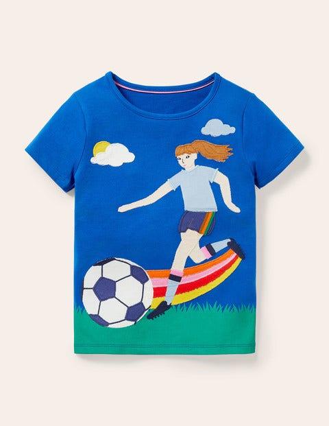 Action Appliqué T-shirt - Brilliant Blue Footballer