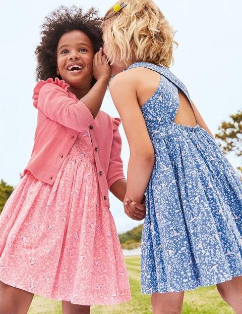 Kleid Mit Überkreuztem Rücken - Meerblau, Vogel-/Blumenmuster