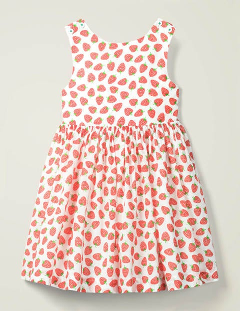 Cross Back Dress - White Peach Melba Strawberries