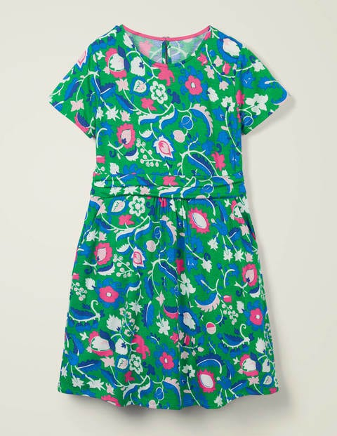 Mini-me Amelie Dress - Green/ White Tropical Retreat