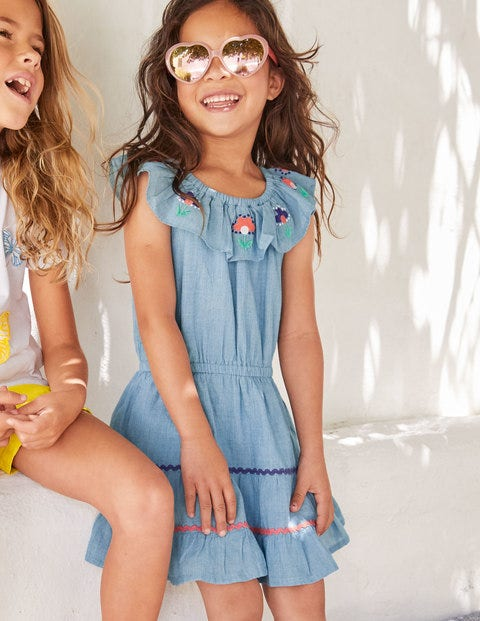 Embroidered Ric Rac Dress - Chambray