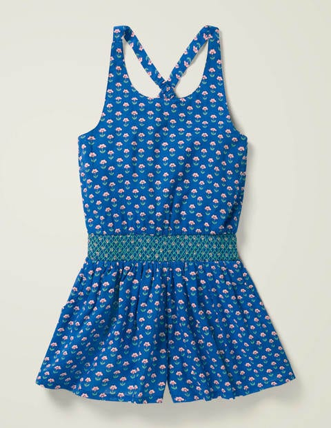 Smocked Waist Playsuit - Blue Woodblock
