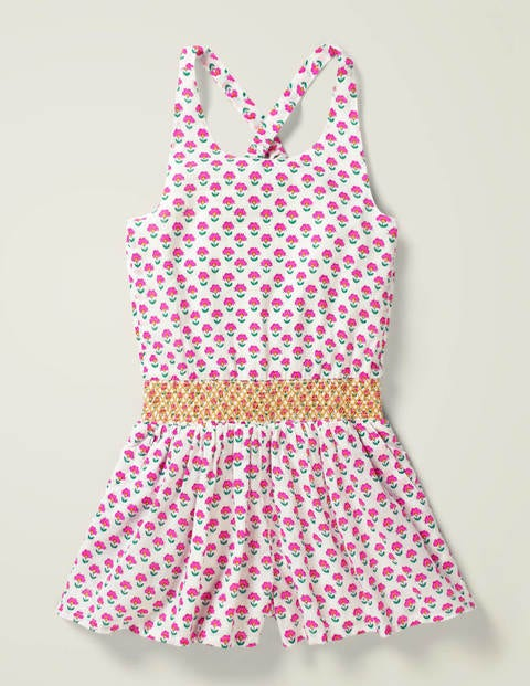 Smocked Waist Romper - Pop Pansy Pink Woodblock