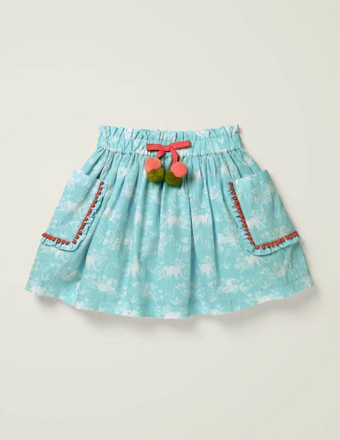 Pom Pocket Skirt - Light Blue Tropical Toile