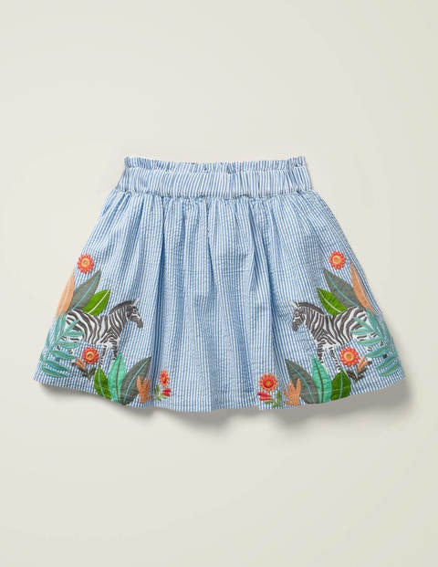 Zebra Embroidered Woven Skirt - Seascape Blue Zebra