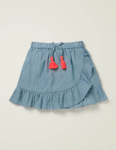 Ruffle Wrap Skirt - Chambray
