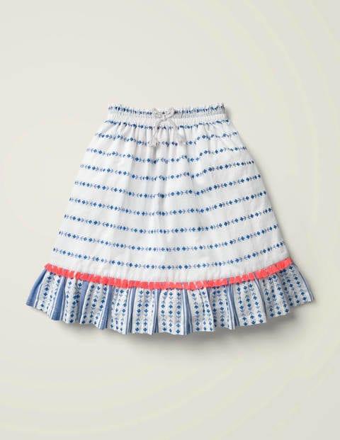 Tassel Tie Midi Skirt - Bold Blue Dobby