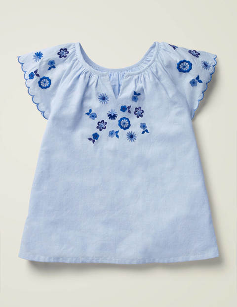Floral Embroidered Woven Top - Chambray
