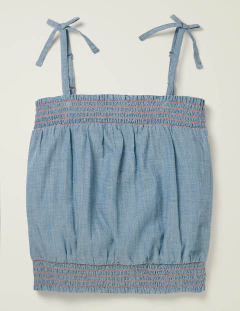 Strappy Bow Woven Top - Chambray