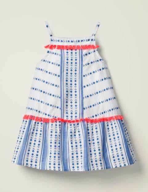 Gestreiftes Kleid mit Quasten - Kräftiges Blau, Dobby-Muster