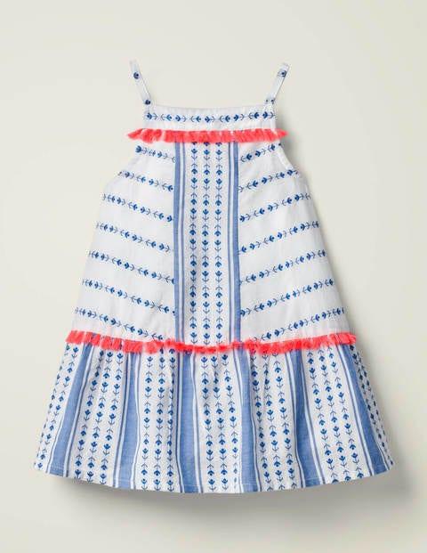 Bold Stripe Tassel Dress - Bold Blue Dobby