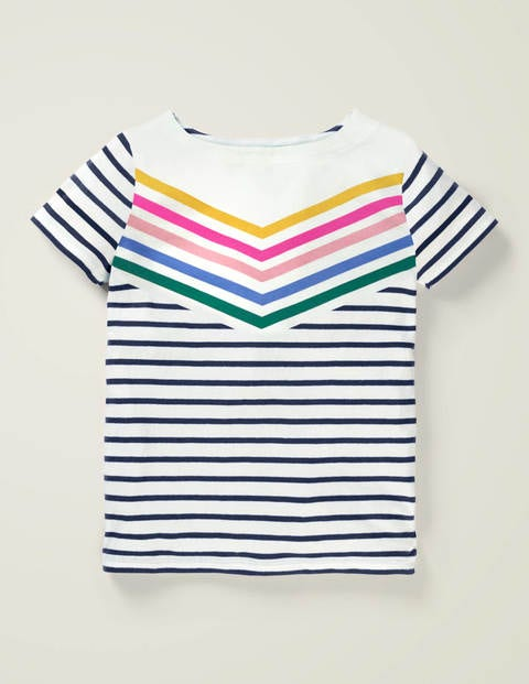 Short-sleeved Breton - Rainbow Chevron Stripe