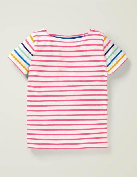 Short-Sleeved Breton - Bright Camelia Pink/ White